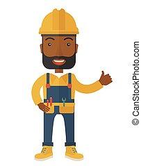 illustrazione, di, uno, felice, carpentiere, il portare, cappello duro, e, tuta