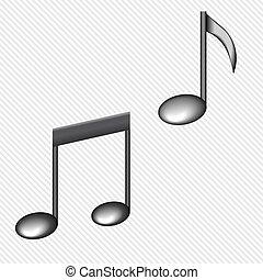 illustrazione, di, uno, nero, note, isolato, bianco, fondo, vettore