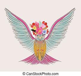 illustrazione, di, uno, poco, uccello