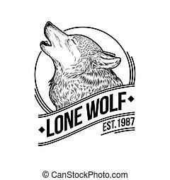 illustrazione, di, uno, ululando, lupo