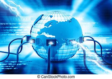 illustrazione digitale, di, globale, collegamento internet
