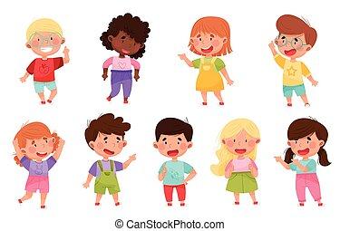illustrazione, dito, caratteri, indicare, primo, capretto, qualcosa, vettore, set, loro