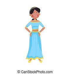 illustrazione, donna, sultana, vettore, giovane, abbigliamento, sorridente