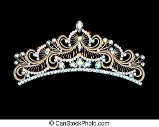 illustrazione, donne, oro, diadema, ti