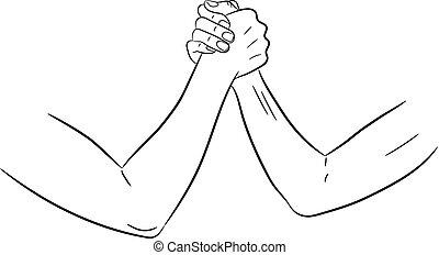 illustrazione, donne, vettore, mani, monocromatico, armwrestling