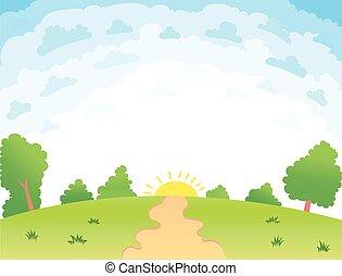 illustrazione, estate, paesaggio, vettore, bello