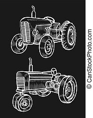 illustrazione, fatto rotare, trattore