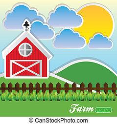 illustrazione, fattoria
