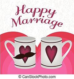illustrazione, felice, matrimonio