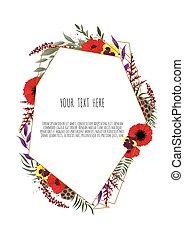 illustrazione, floreale, cornice, bello, vettore, geometrico