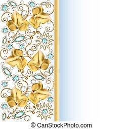 illustrazione, fondo, cornice, con, gioielli, di, ornamenti