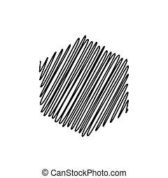 illustrazione, fondo, sketchy, vettore, esagono, scarabocchio