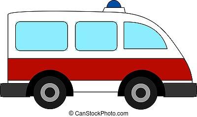 illustrazione, fondo., vettore, automobile, ambulanza, bianco