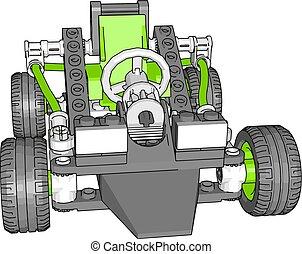 illustrazione, fondo., vettore, automobile verde, bianco