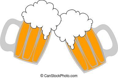 illustrazione, fondo., vettore, birre, vetro, bianco