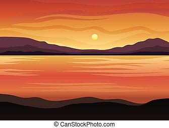 illustrazione, fondo., vettore, mare, arancia, bianco, sunset.