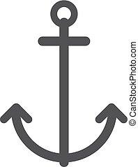 illustrazione, fondo., vettore, nero, bianco, ancorare, icona