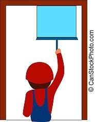 illustrazione, fondo., vettore, pulizia, finestra, bianco, uomo