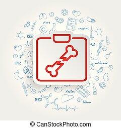illustrazione, fondo., vettore, sanità, handdrawn, doodles, raggi x, icona