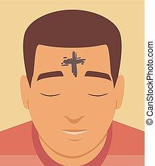 illustrazione, fronte, croce, cenere, mercoledì, uomo