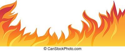 illustrazione, fuoco, isolato, vettore, fiamma, white.