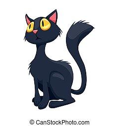 illustrazione, gatto, fondo., vettore, nero, bianco