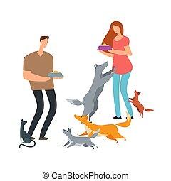 illustrazione, gatto, vettore, senzatetto, volontari, cani