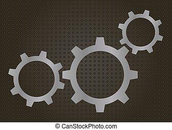 illustrazione, gears., vettore, astratto, fondo