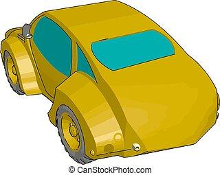 illustrazione, giallo, fondo., vettore, automobile, bianco, fresco