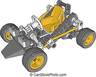 illustrazione, giallo, fondo., vettore, automobile, bianco