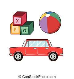 illustrazione, giocattoli, vario, bambini