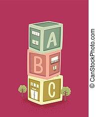 illustrazione, giocattolo, costruzione blocca