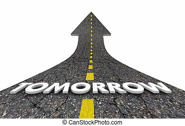 illustrazione, giorno, futuro, freccia, prossimo, domani, strada, 3d