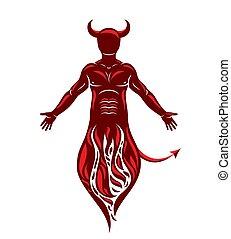 illustrazione, grafico, mistico, muscolare, fire., demone, ...