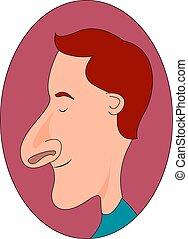 illustrazione, grande, fondo., vettore, naso, bianco, uomo
