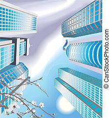 illustrazione, grattacieli