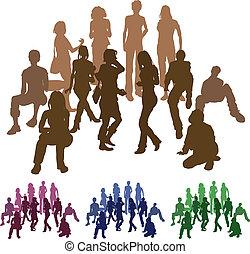 illustrazione, gruppo, silhouette, amici