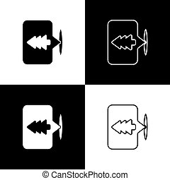 illustrazione, icona, fondo., set, mappa, isolato, foresta, bianco, posizione, nero, vettore