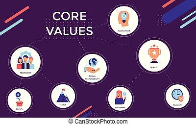 illustrazione, icone, fondo., colorito, vettore, centro, cerchi, viola, valori