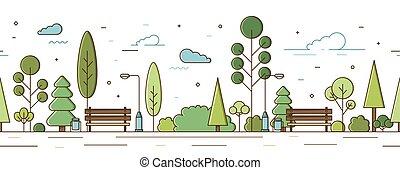 illustrazione, infrastruttura, moderno, strada, posto, albero, o, modello, linea, orizzontale, luci urbane, panche, parco, style., cespugli, vuoto, seamless, giardino, ricreativo, vettore, arte pubblica