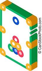 illustrazione, interattivo, biliardo, vettore, gioco, icona, isometrico