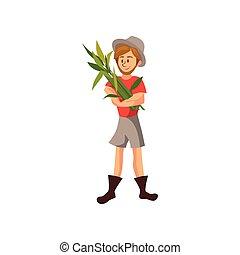 illustrazione, lavoro, raccolto, vettore, illustrazione, contadino, maschio, cartone animato, giardiniere, raccolta