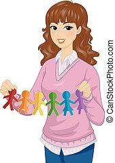 illustrazione, lgbt, carta, ragazza, insegnante, bambole