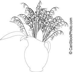 illustrazione, lily-of-the-valley, 3d