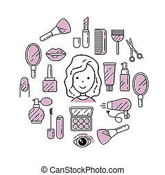 illustrazione, lineare, cosmetica, style., icone, segni