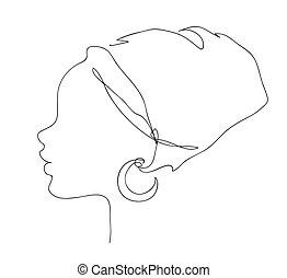 illustrazione, logotipo, africano, icon., nazionale, silhouette, contorno, carino, acconciatura, girl., faccia, donna