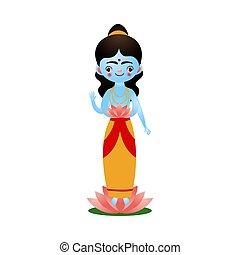 illustrazione, loto, indiano, piedi, fiore, dea, indù, vettore