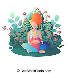 illustrazione, loto, seduta, vettore, mamma, position., bambino