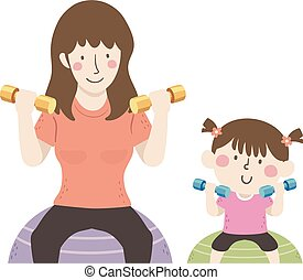 illustrazione, mamma, palla, esercizio, dumbbells, ragazza, capretto