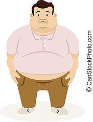 illustrazione, man., vettore, appartamento, grasso